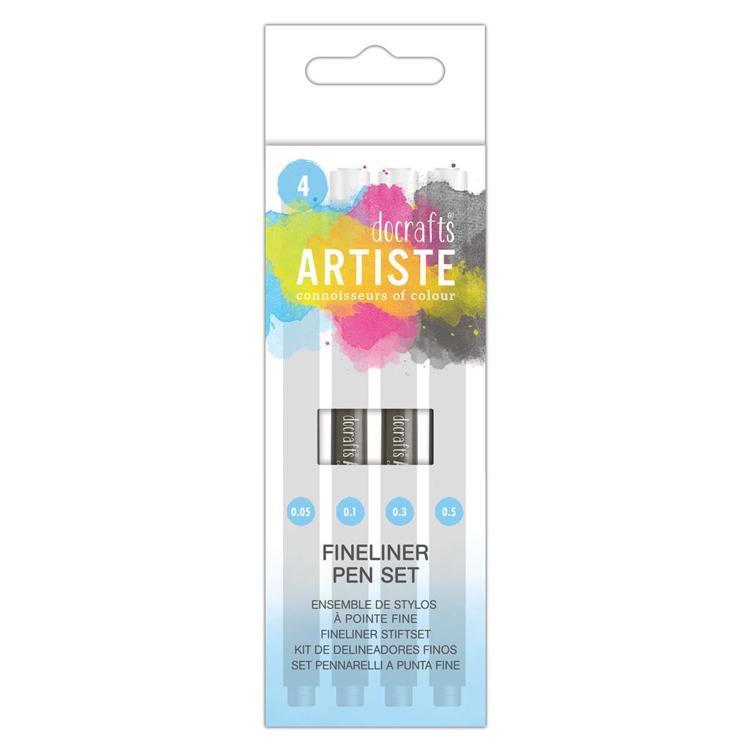 Artiste Black Fineliners (Pk 4) Nib size 0.05, 0.1, 0.3, 0.5mm