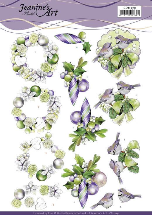 3D Cutting Sheet - Jeanine's Art - Purple Christmas Baubles