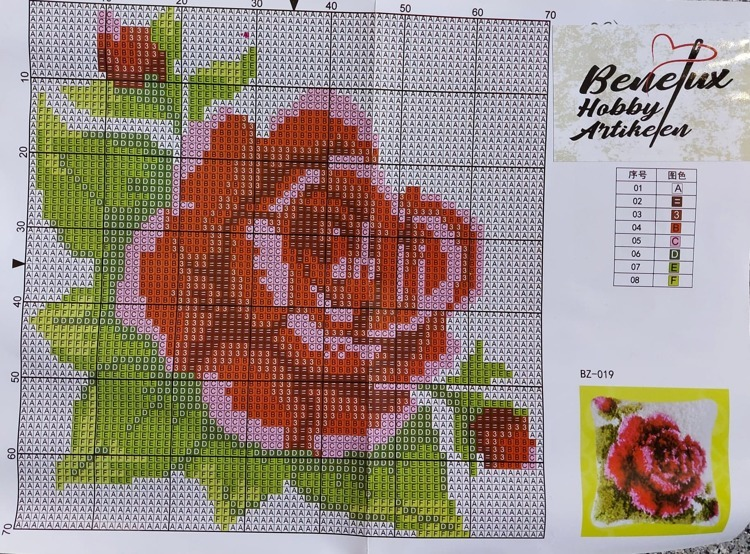 Knoopkussen 42x42cm roos