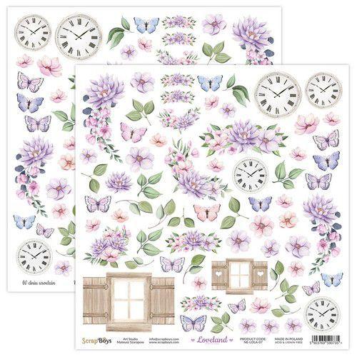 ScrapBoys Loveland new edition paper cut out elements DZ NE-LOLA-07 190gr 30,5x30,5cm (06-21)