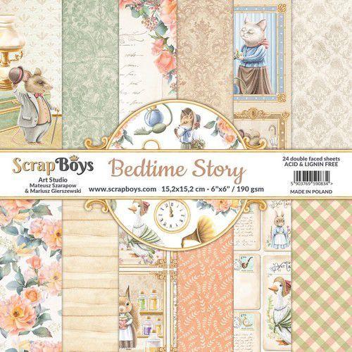 ScrapBoys Bedtime story paperpad 24 vl+cut out elements-DZ BEST-09 190gr 15,2x15,2cm (06-21)