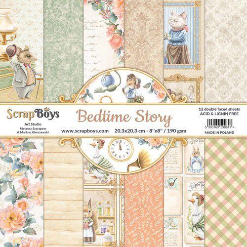 ScrapBoys Bedtime story paperpad 12 vl+cut out elements-DZ BEST-10 190gr 20,3x20,3cm (06-21)