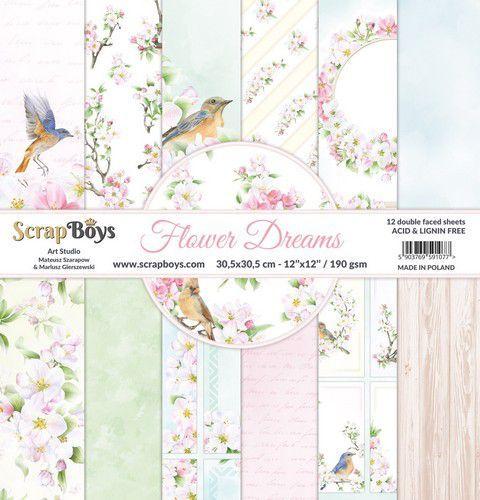ScrapBoys Flower dreams paperset 12 vl+cut out elements-DZ FLDR-08 190gr 30,5x30,5cm (06-21)