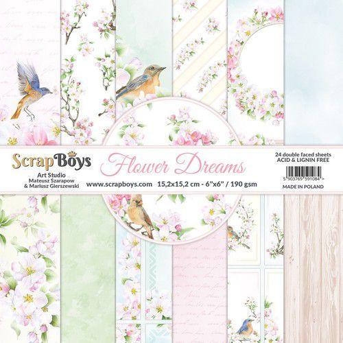 ScrapBoys Flower dreams paperpad 24 vl+cut out elements-DZ FLDR-09 190gr 15,2x15,2cm (06-21)