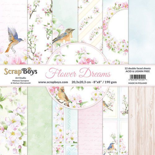 ScrapBoys Flower dreams paperpad 12 vl+cut out elements-DZ FLDR-10 190gr 20,3x20,3cm (06-21)