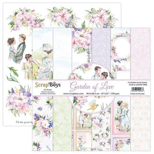 ScrapBoys Garden of love paperset 12 vl+cut out elements-DZ GALO-08 190gr 30,5x30,5cm (06-21)