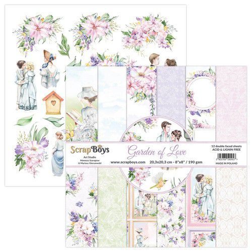 ScrapBoys Garden of love paperpad 12 vl+cut out elements-DZ GALO-10 190gr 20,3x20,3cm (06-21)