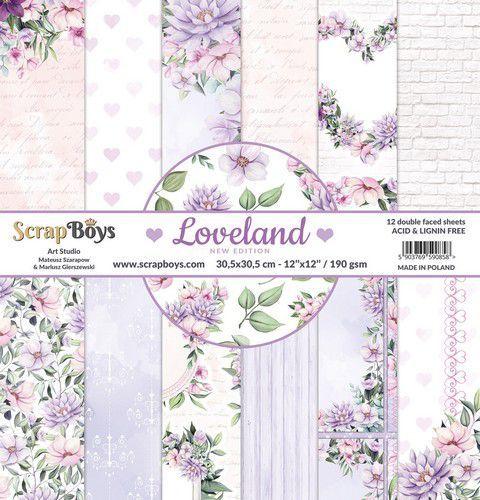 ScrapBoys Loveland new edition paperset 12 vl+cut out elements-DZ NE-LOLA-08 190gr 30,5x30,5cm (06-2