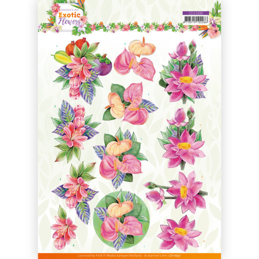 3D cutting sheet - Jeanine's Art - Exotic Flowers - Pink Flowers