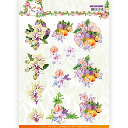 3D cutting sheet - Jeanine's Art - Exotic Flowers - Purple Flowers