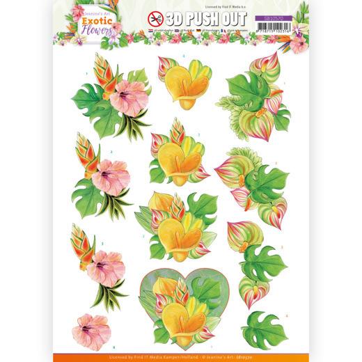 3D Push Out - Jeanine's Art - Exotic Flowers - Orange Flowers