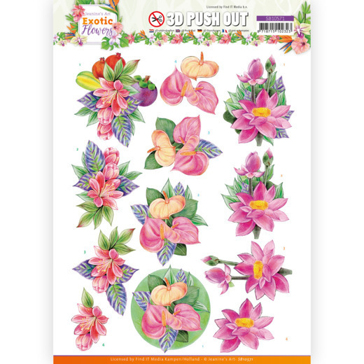 3D Push Out - Jeanine's Art - Exotic Flowers - Pink Flowers