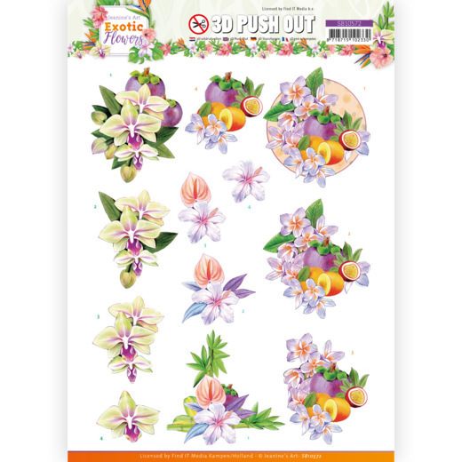3D Push Out - Jeanine's Art - Exotic Flowers - Purple Flowers