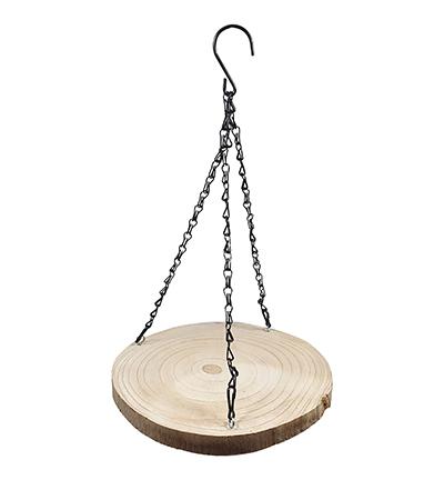 Decoratie hanger boomschijf paulowia rond natural ±26cm