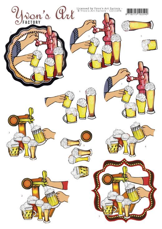 3D Cutting Sheet - Yvon's Art - Beer