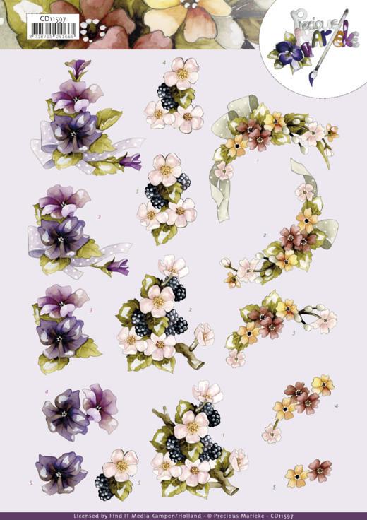 3D Cutting Sheet -Precious Marieke -Flowers with Bow