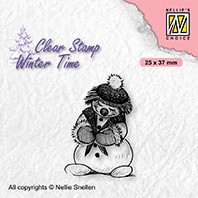 WT005 Clear stamps winter time Shy snowman