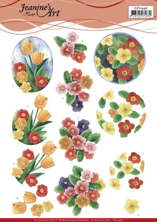 3D Cutting Sheet - Jeanine's Art - Aquarel Spring Flowers