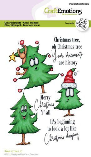 CraftEmotions clearstamps A6 - Xmas trees 2 (Eng) Carla Creaties (09-21)