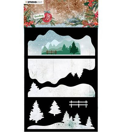 SL Mask Layered winter landscape Sending Joy nr.33