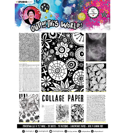 ABM Collage Paper Pattern Paper Back & White Out Of This World nr.15