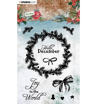 SL Clear stamp Christmas wreath Sending Joy nr.55