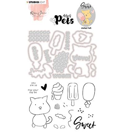 KJ Stamp & Cutting Die, Complete Pets Cat Missees nr.10