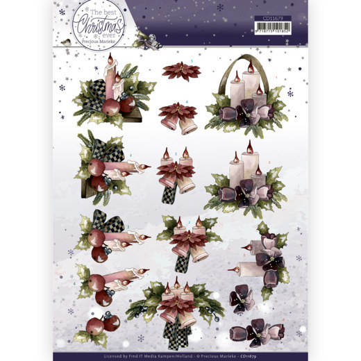 3D Cutting Sheet - Precious Marieke - The Best Christmas Ever - Purple Flowers And Candles