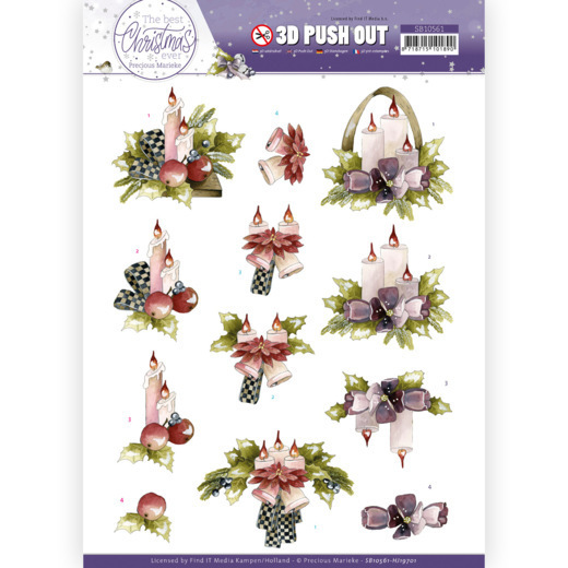 3D Push Out - Precious Marieke - The Best Christmas Ever - Purple Flowers and Candles