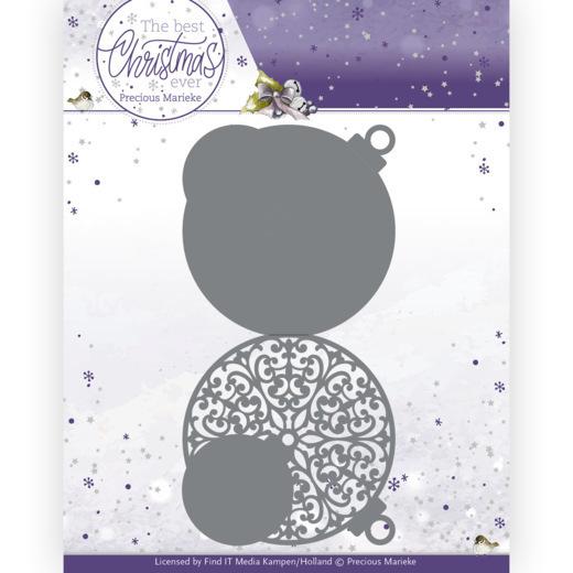 Dies - Precious Marieke - The Best Christmas Ever - Christmas Bauble Shape Card