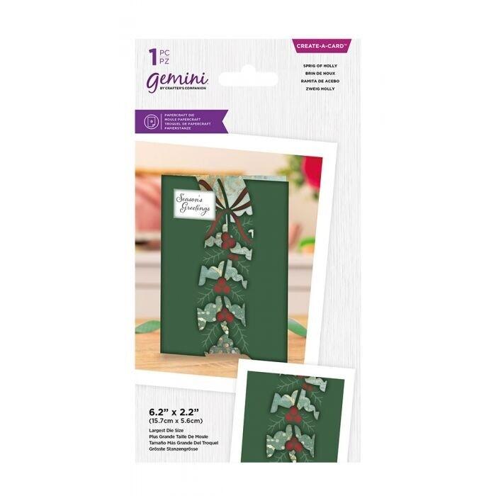Gemini - Create a Card snijmal - Centerpiece Xmas - Sprig of Holly