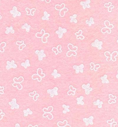 Felt butterflies, Pink Pastel/White