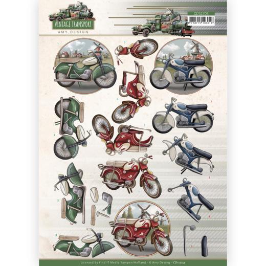 3D Cutting Sheet - Amy Design - Vintage Transport - Moped