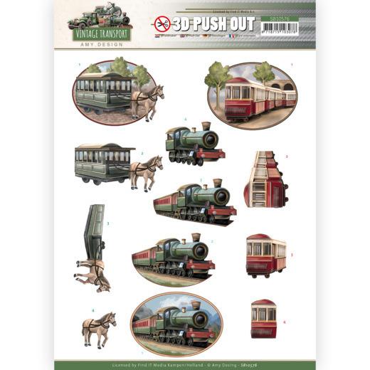 3D Push Out - Amy Design - Vintage Transport - Train