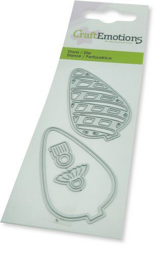 CraftEmotions Die - Kerstbal lang ruit Card 5x10cm (08-21)