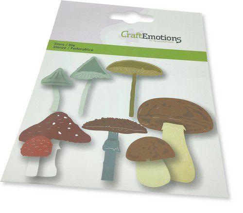 CraftEmotions Die - paddestoelen mix Card 11x9cm -cm -cm (08-21)