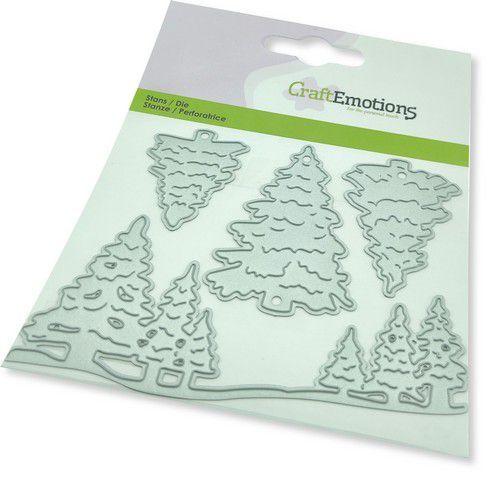 CraftEmotions Die - kerstbomen Card 11x9cm -cm -cm (08-21)