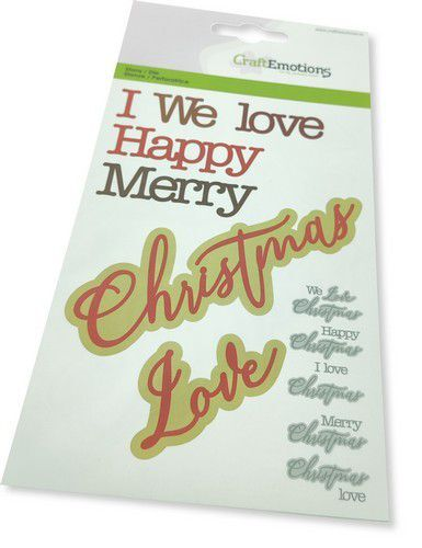 CraftEmotions Die - tekst Christmas Love Card 10,5x14,8cmcm (08-21)