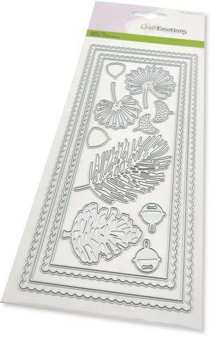 CraftEmotions Die - Slimline scalop - Xmas floristics Card 27,5x11cm Die 21x9,8cm (08-21)