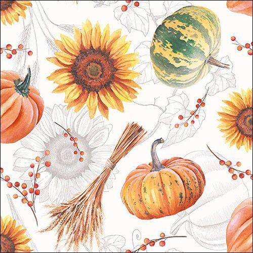 CraftEmotions servetten 5st - Pompoenen en zonnenbloemen 33x33cm Ambiente 13315635 (09-21)