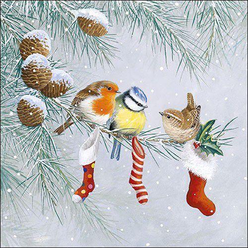 CraftEmotions servetten 5st - Kerstsokken met vogels 33x33cm Ambiente 33315310 (09-21)