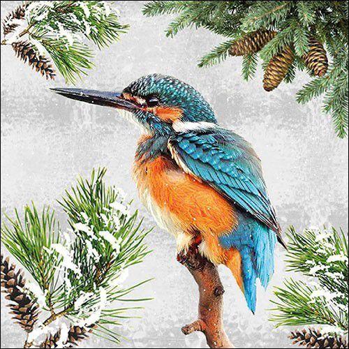 CraftEmotions servetten 5st - Ijsvogel in de sneeuw 33x33cm Ambiente 33315360 (09-21)