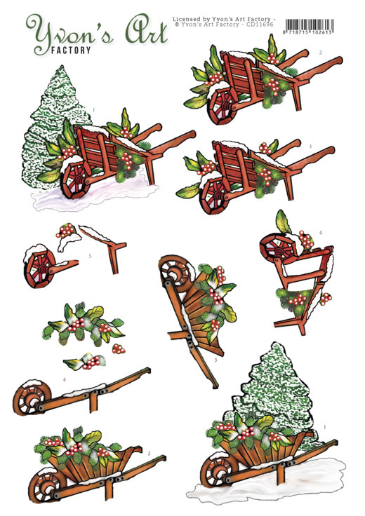 3D Cutting Sheet - Yvon's Art -Christmas Wheelbarrow