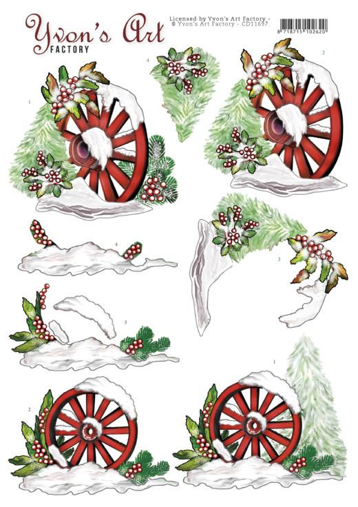 3D Cutting Sheet - Yvon's Art -Christmas Wagonwheel