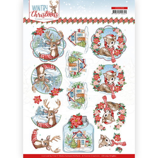 3D Cutting Sheet - Yvonne Creations - Wintry Christmas - Christmas Deer