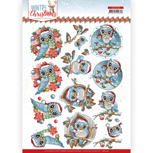 3D Cutting Sheet - Yvonne Creations - Wintry Christmas - Christmas Owls