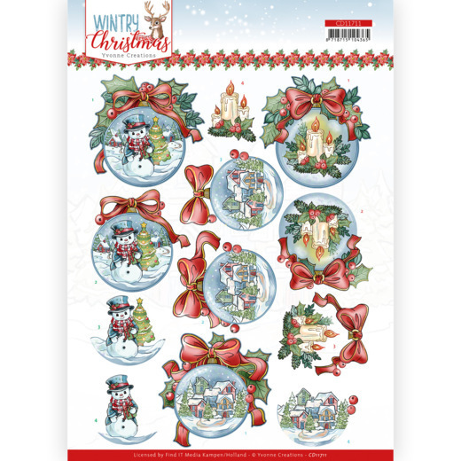 3D Cutting Sheet - Yvonne Creations - Wintry Christmas - Christmas Baubles