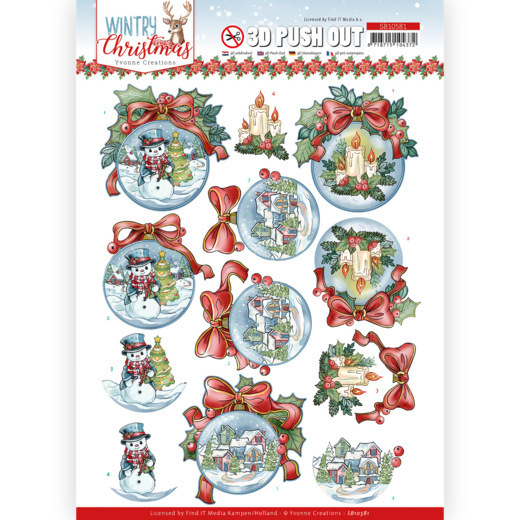 3D Push Out - Yvonne Creations - Wintry Christmas - Christmas Baubles
