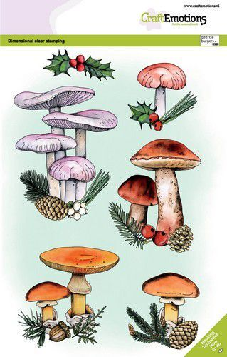 CraftEmotions clearstamps A5 - Paddestoelen kerst GB Dimensional stamp (09-21)