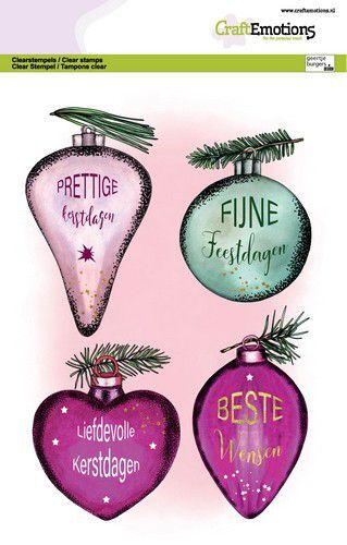 CraftEmotions clearstamps A5 - Kerstballen met losse tekst (NL) GB Dimensional stamp (09-21)